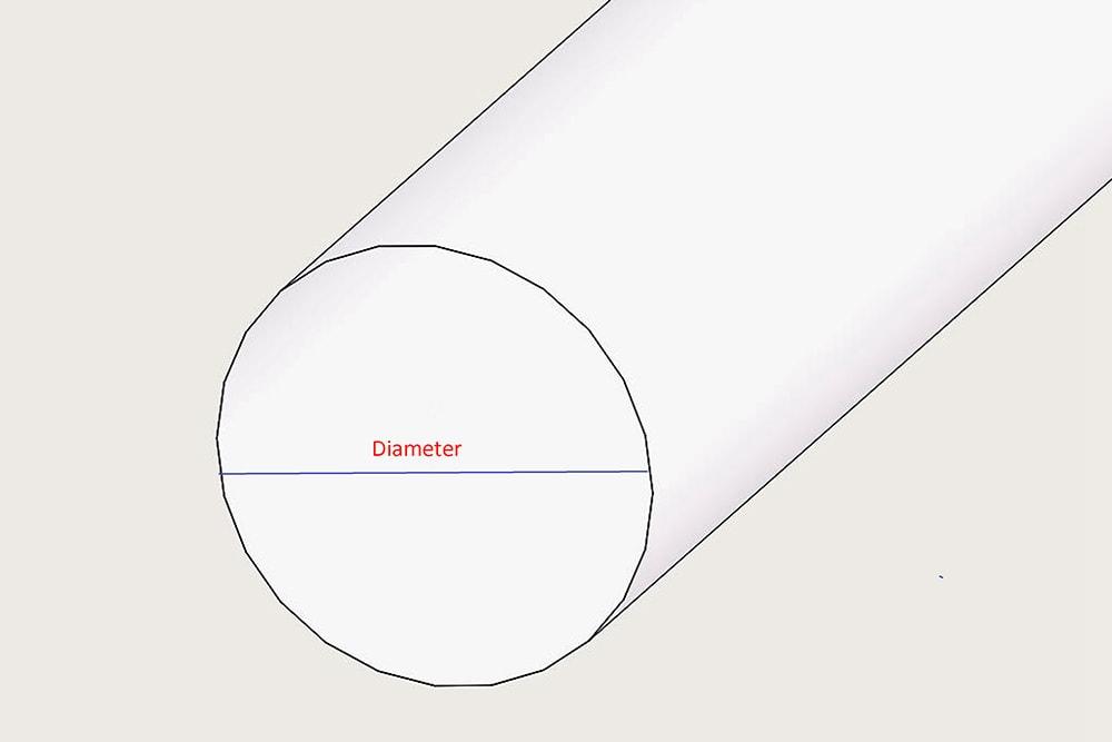 Durchmesser des runden Acrylglasstabs