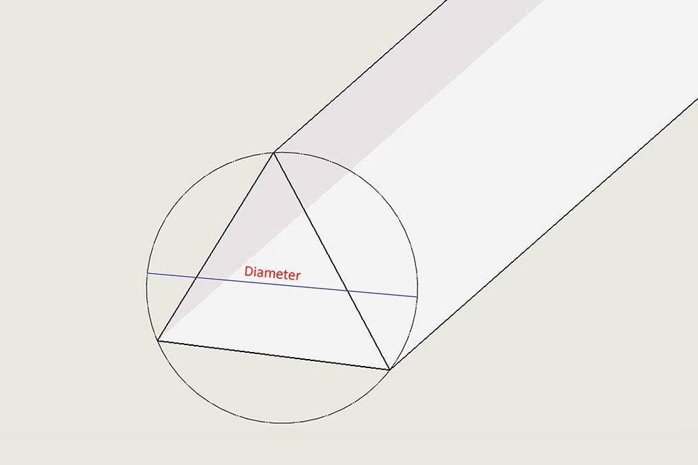 Durchmesser des dreieckigen Acrylglasstabs