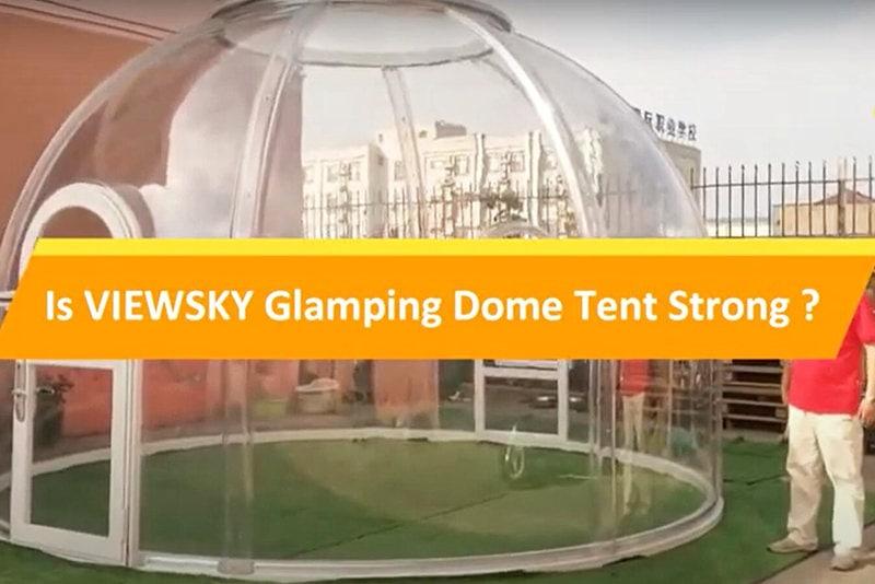 Prüfung der Stärke des Glamping-Zeltes