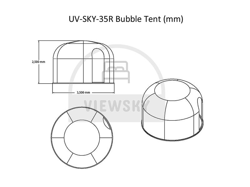 Entwurf von 3,5 Meter Bubble Zelt
