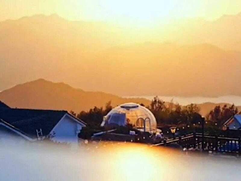 Bubble-Zelt im Tee-Garten